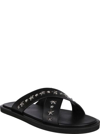 Jimmy Choo Black Leather Slides