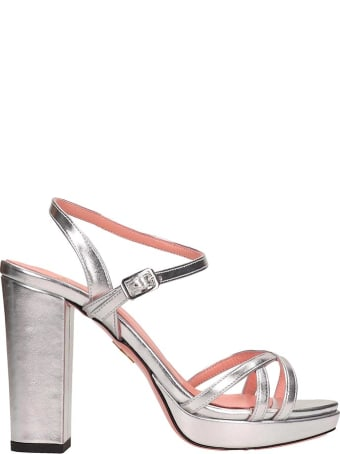 JF London Silver Leather Sandals