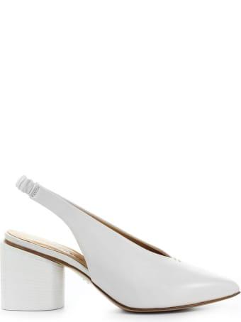 Halmanera White Nappa Leather Slingback Pump