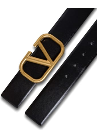Valentino Garavani V Logo Belt In Black Leather