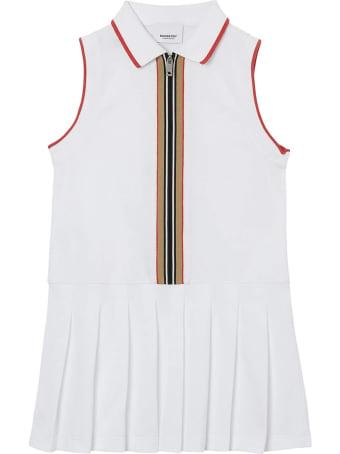 Burberry White Cotton Polo Dress