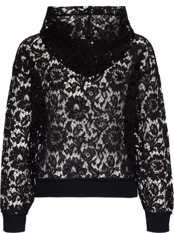 Valentino Lace Hoodie With Front Logo