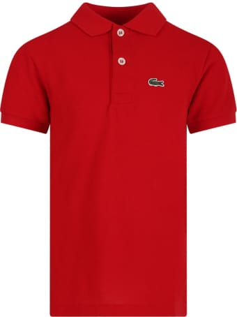 Lacoste Red Boy Polo Shirt With Green Crocodile