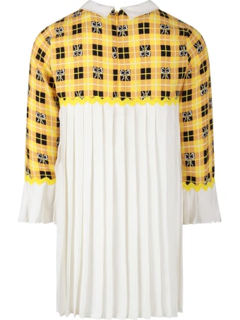 Vivetta Yellow And White Dress With Bows For Girl