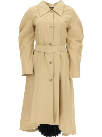 A.W.A.K.E. Mode Trench Coat With Pleated Insert