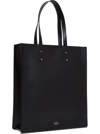 Valentino Garavani Leather Tote Shopper With Logo