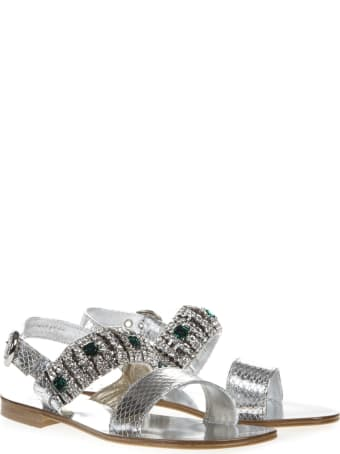 Emanuela Caruso Silver Laminate Scaled Leather Sandal