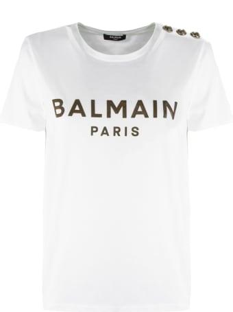 Balmain White And Gold Cotton T-shirt