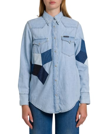 Calvin Klein Jeans Foundation Western Denim Shirt With Contrasting Patches