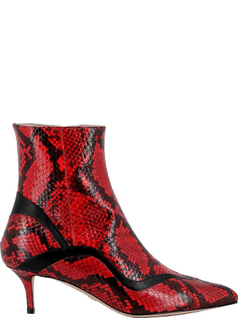 Paula Cademartori Red Leather Ankle Boots