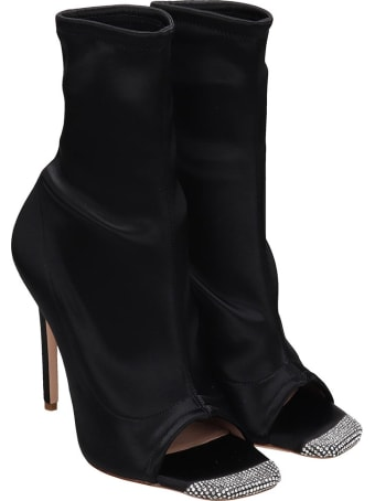 Sebastian Milano High Heels Ankle Boots In Black Satin