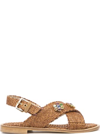 Emanuela Caruso Sandals In Natural Rafia With Crystals