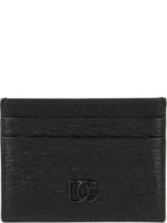 Dolce & Gabbana Black Calf Crossed Leather Cardholder