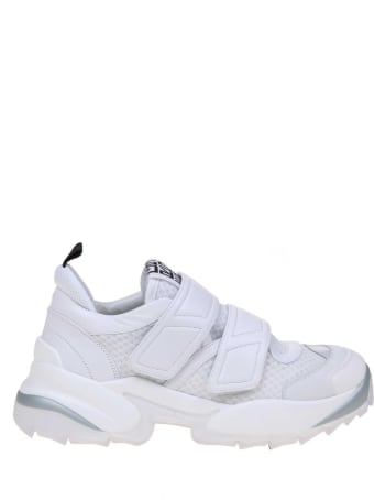 Sergio Rossi Extreme Sneakers In Leather And Net White Color