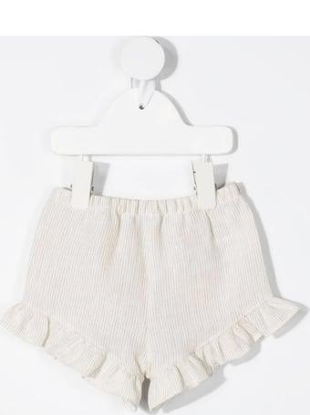 Il Gufo Newborn Beige Striped Pure Linen Shorts With Ruffles
