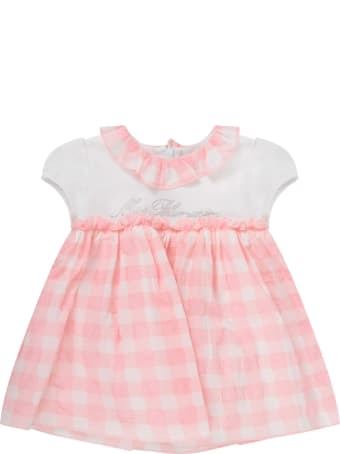 Blumarine White And Pink Dress For Baby Girl With Logo