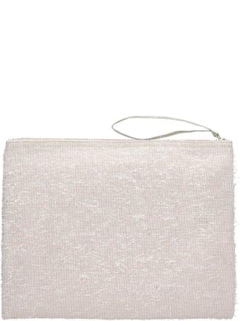 Anniel Big Clutch Furry Lurex White Pochette