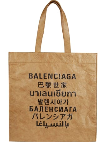Balenciaga Multi-language Logo Print Shopper Bag