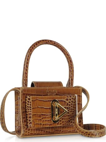 Salar Loulou Croco Embossed Tan Leather Top Handle Bag