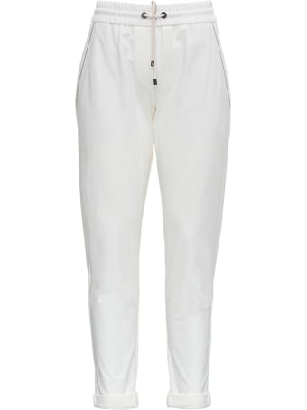 Brunello Cucinelli White Jersey Trousers With Monile Profiles