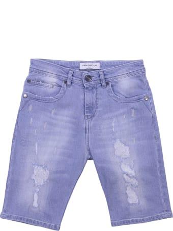 John Galliano Light Blue Cotton Denim Shorts