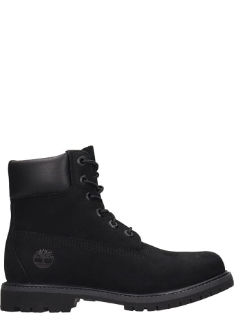 Timberland 6in Prem Combat Boots In Black Nubuck