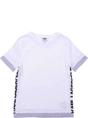 Karl Lagerfeld Logo White Cotton Jersey T-shirt