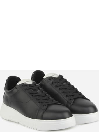 Emporio Armani Leather Sneakers With Contrasting Logo