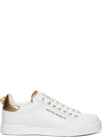 Dolce & Gabbana Leather Sneakers With Golden Details