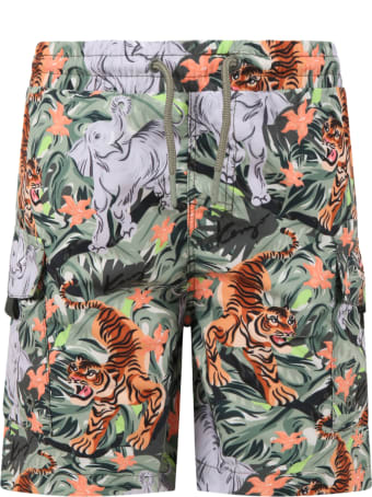 Kenzo Kids Multicolor Swim Short For Boy With Animals