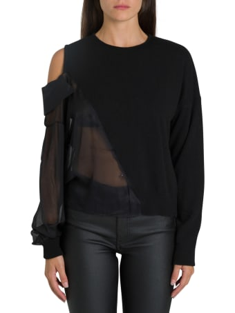 Federica Tosi Asymmetric Sweater With Cut Out Detail And Sheer Effect