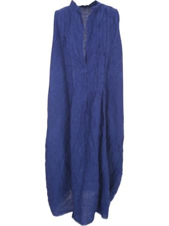 Daniela Gregis Linen Dress W/s Crew Neck W/pleats