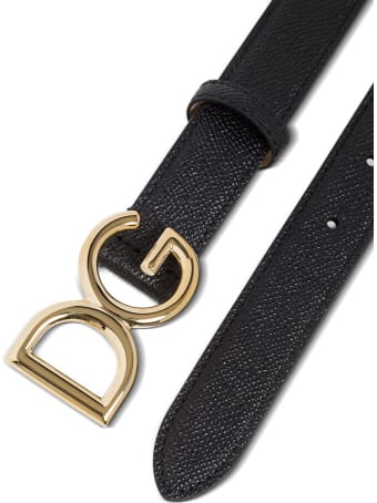 Dolce & Gabbana Black Leather Belt With Logo Buckle