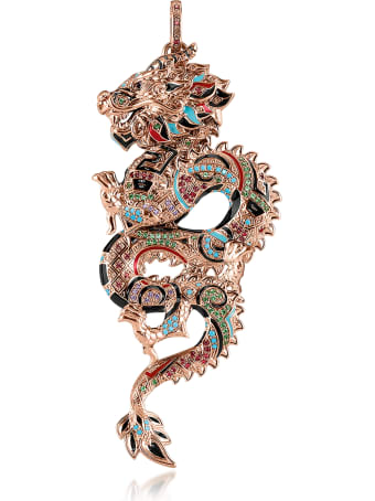 Thomas Sabo 18k Rose Gold Plated Sterling Silver Dragon Pendant W/glass-ceramic Stones