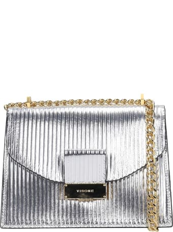 Visone Carrie Striato Shoulder Bag In Silver Leather