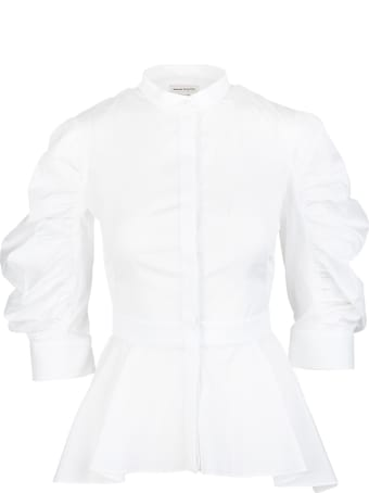 Alexander McQueen Woman White Peplum Shirt With Curled Sleeves