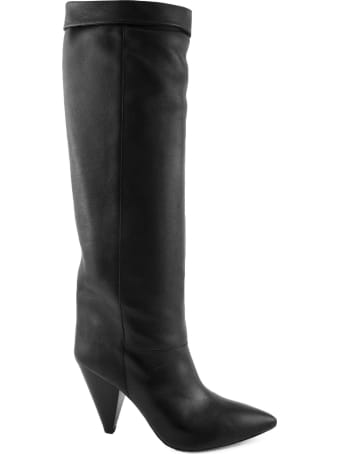 Isabel Marant Black Leather Loens High Boots