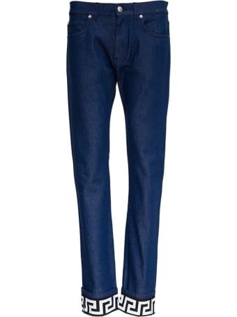 Versace Denim Jeans With Greca Detail