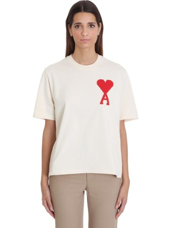 Ami Alexandre Mattiussi T-shirt In Beige Cotton