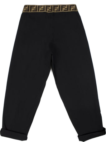 Fendi Black Stretch Cotton Blend Trousers