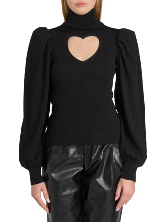 MSGM Knitted Top With Heart-shaped Cut Out And Puffed Sleeves