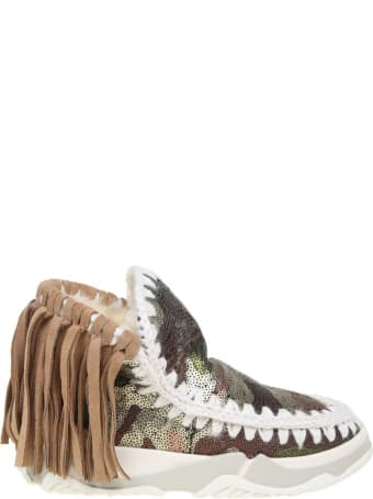 Mou Sneakers Eskimo Trainer Fringed With Pailettes