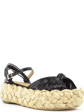 Paloma Barceló Black Leather Auapay Sandals