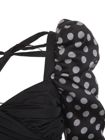 Giuseppe di Morabito Black Short Dress With Polka Dot Sleeves