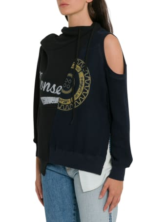MONSE Split Cold-shoulder Draped Hoodie