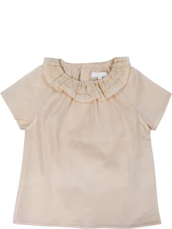 Chloé Pink Ruffled Neck Cotton Blouse
