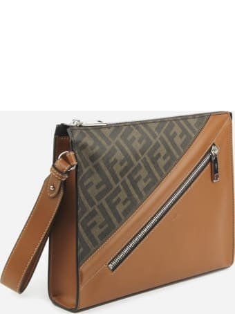 Fendi Fabric Clutch With Ff Motif