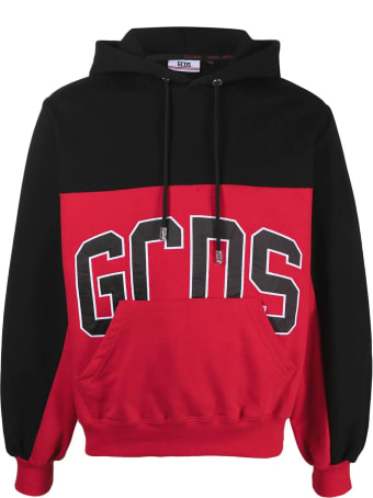 GCDS Black And Red Cotton Hoodie