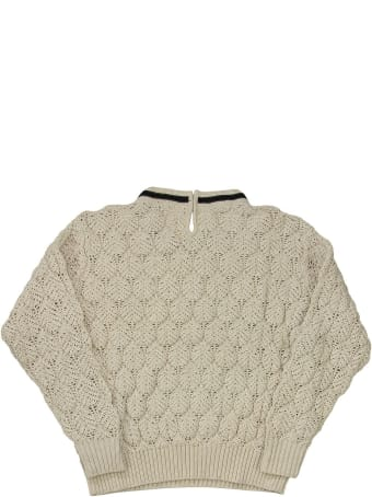 Brunello Cucinelli Cotton Lace-effect Sweater With Monili