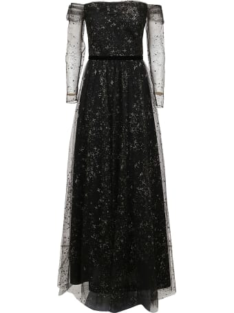 Marchesa Off Shoulder Glitter Dress